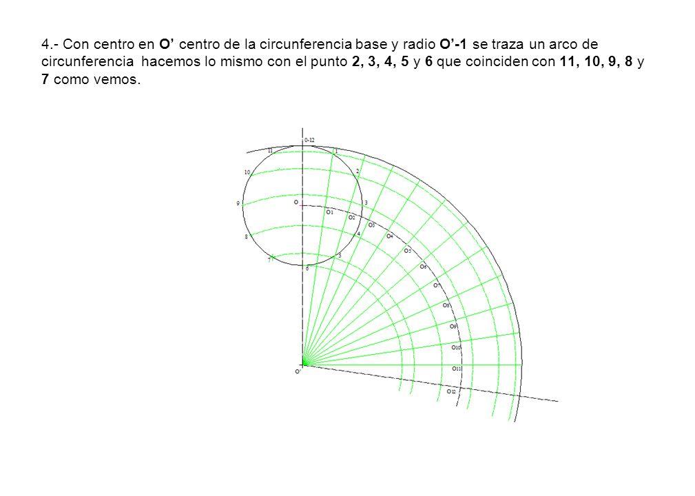 4.- Con centro en O' centro de la circunferencia base y radio O'-1 se traza un arco de circunferencia hacemos lo mismo con el punto 2, 3, 4, 5 y 6 que coinciden con 11, 10, 9, 8 y 7 como vemos.