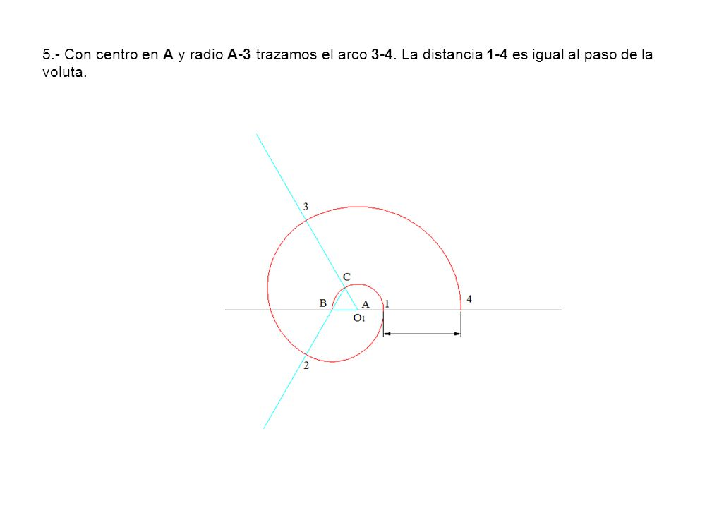 5. - Con centro en A y radio A-3 trazamos el arco 3-4