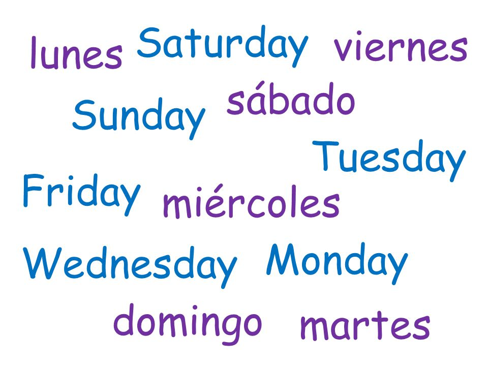 Saturday viernes lunes sábado Sunday Tuesday Friday miércoles Monday Wednesday domingo martes
