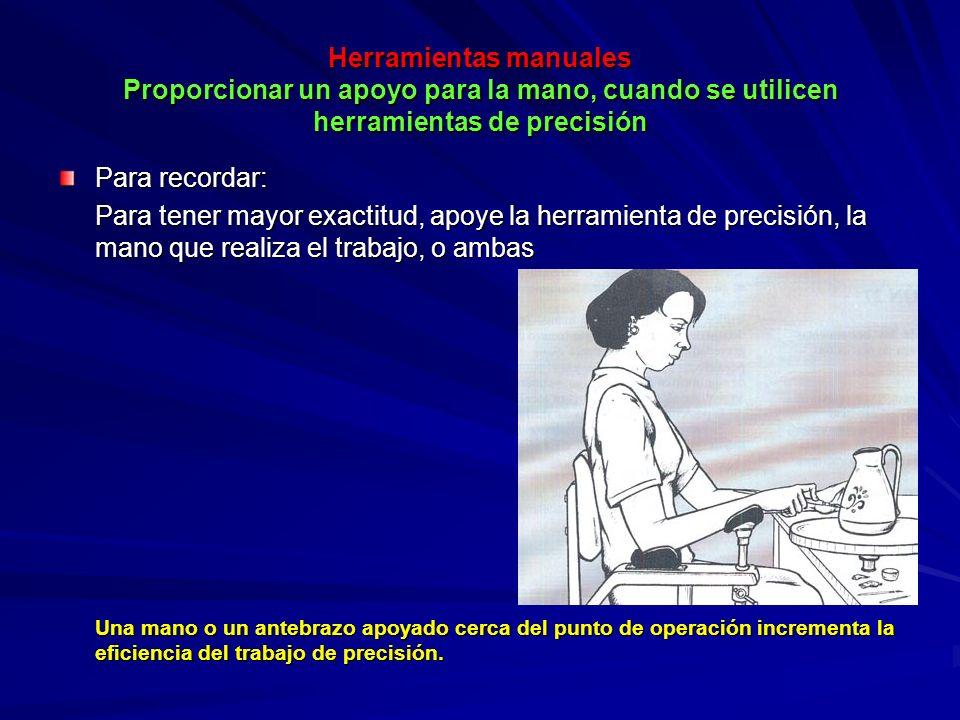 Herramientas manuales Proporcionar un apoyo para la mano, cuando se utilicen herramientas de precisión