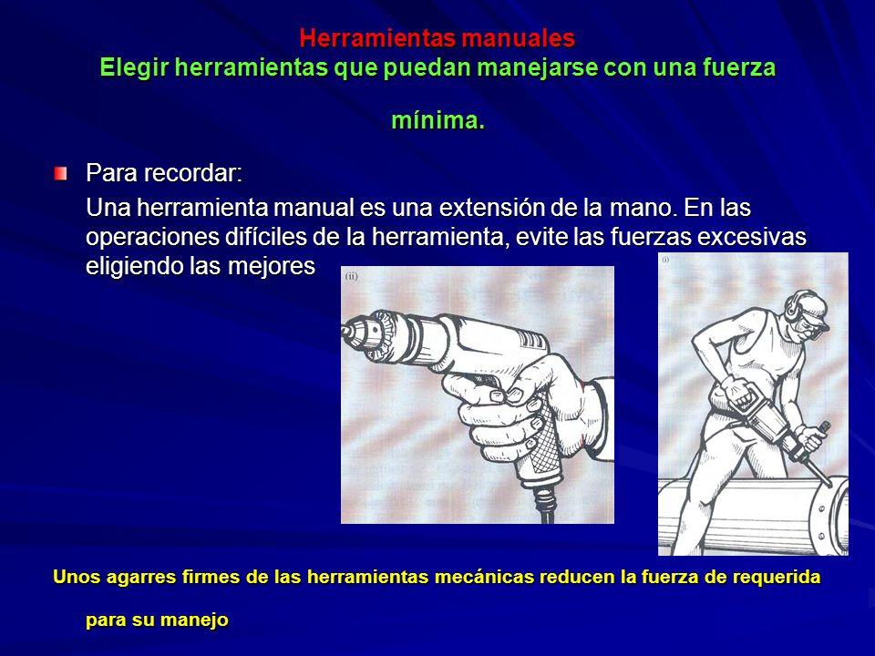 Herramientas manuales Elegir herramientas que puedan manejarse con una fuerza mínima.