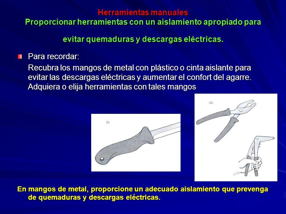 Herramientas manuales Proporcionar herramientas con un aislamiento apropiado para evitar quemaduras y descargas eléctricas.