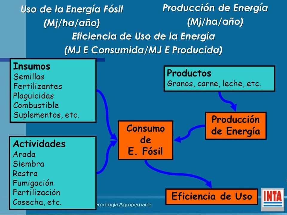 Eficiencia de Uso de la Energía (MJ E Consumida/MJ E Producida)
