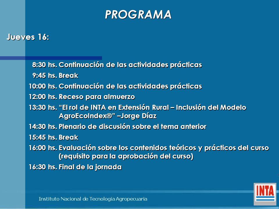 PROGRAMA Jueves 16: 8:30 hs. Continuación de las actividades prácticas