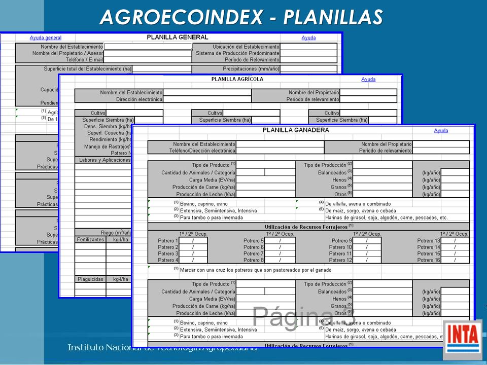 AGROECOINDEX - PLANILLAS