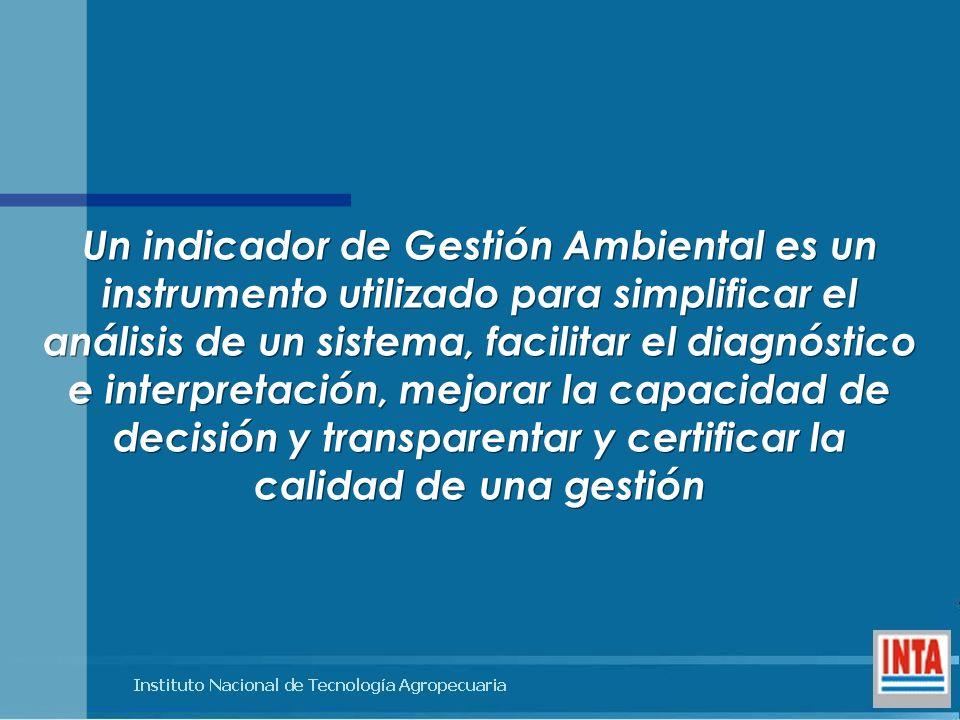 Un indicador de Gestión Ambiental es un instrumento utilizado para simplificar el análisis de un sistema, facilitar el diagnóstico e interpretación, mejorar la capacidad de decisión y transparentar y certificar la calidad de una gestión