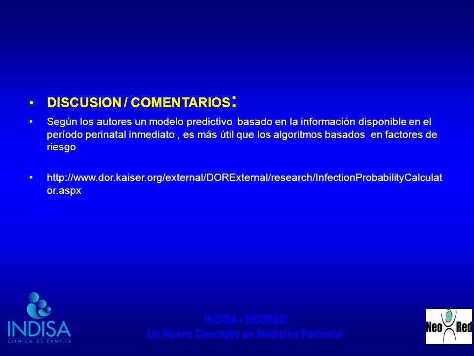 DISCUSION / COMENTARIOS: