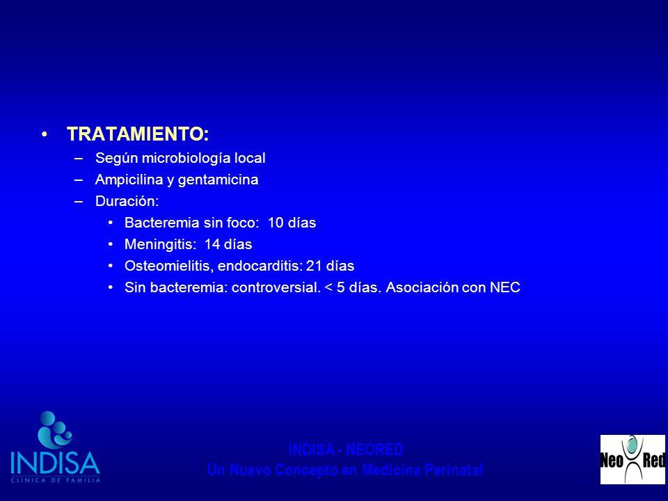 TRATAMIENTO: Según microbiología local Ampicilina y gentamicina
