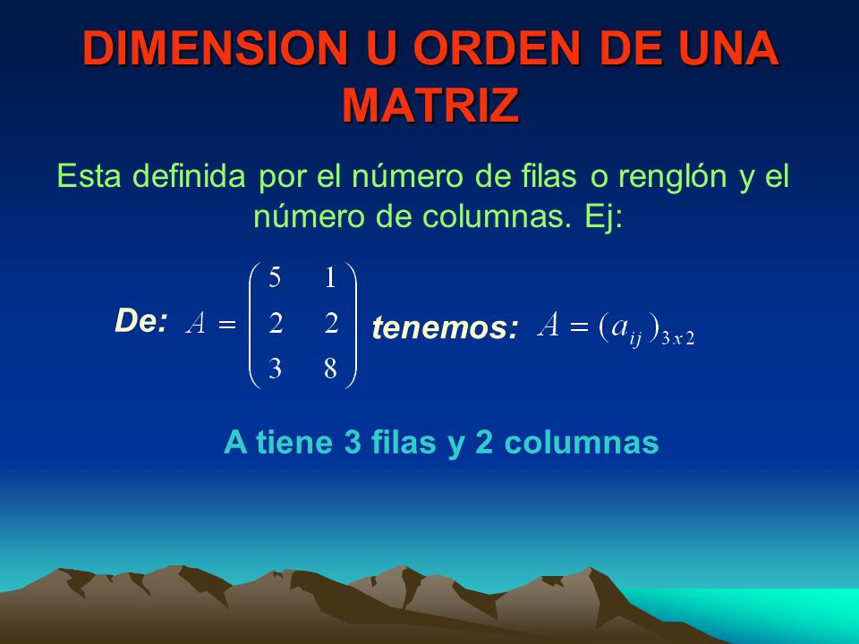 DIMENSION U ORDEN DE UNA MATRIZ
