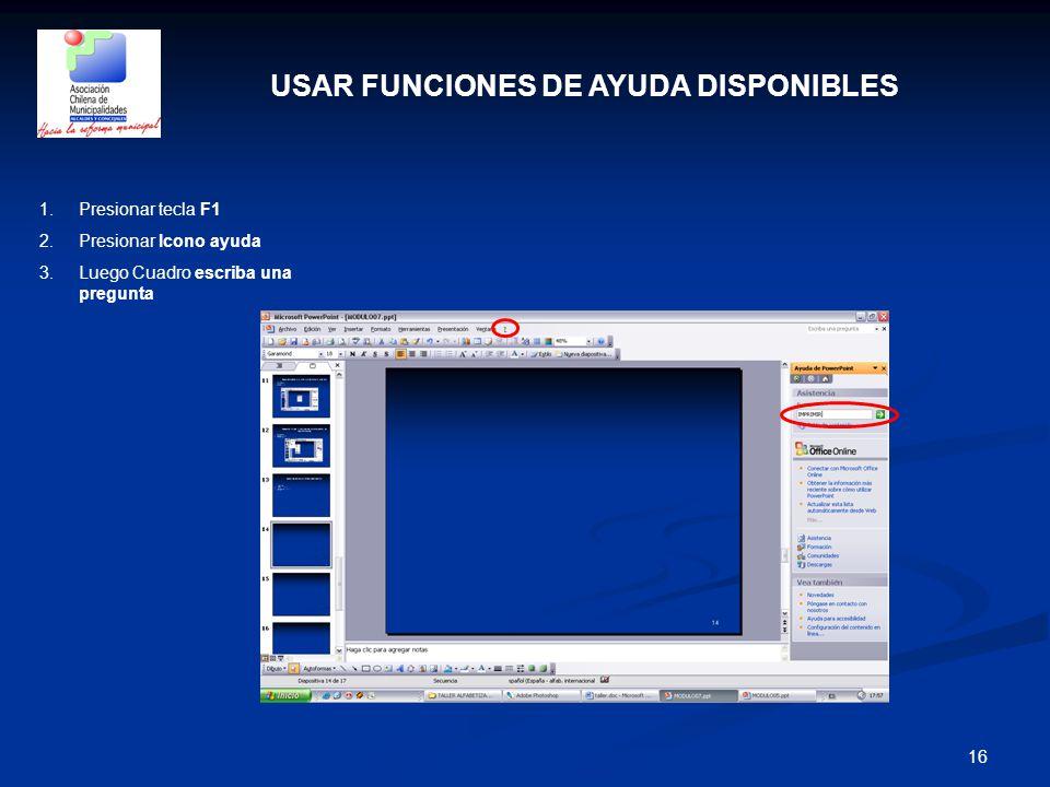 USAR FUNCIONES DE AYUDA DISPONIBLES