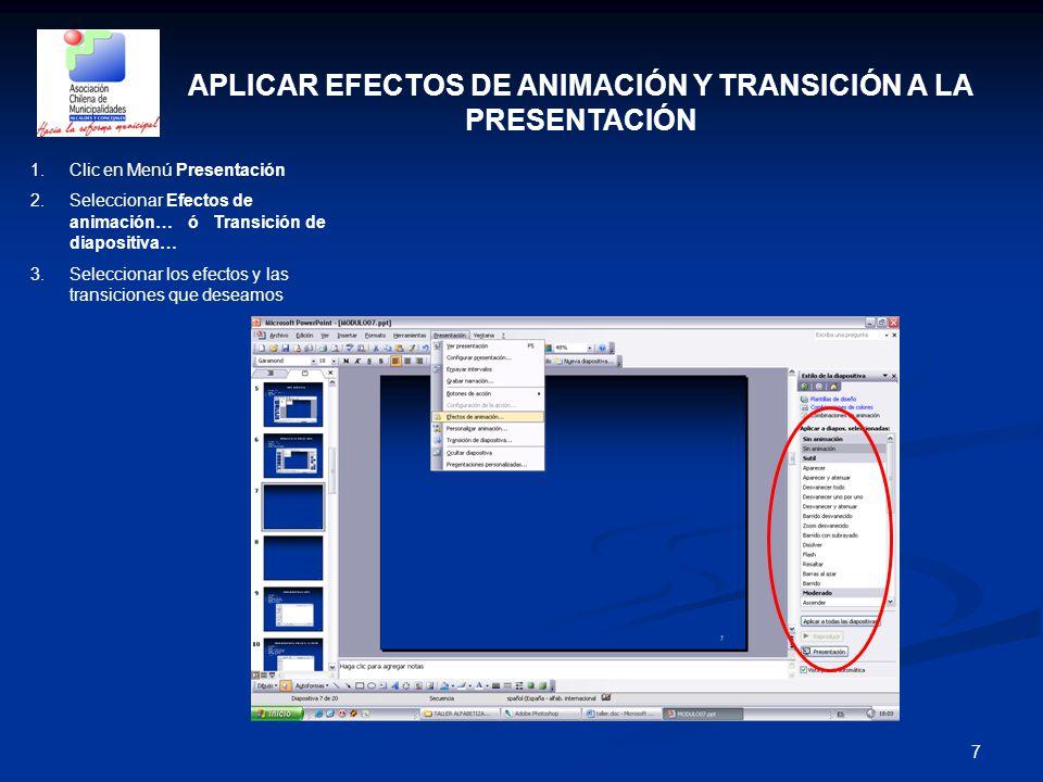 APLICAR EFECTOS DE ANIMACIÓN Y TRANSICIÓN A LA PRESENTACIÓN