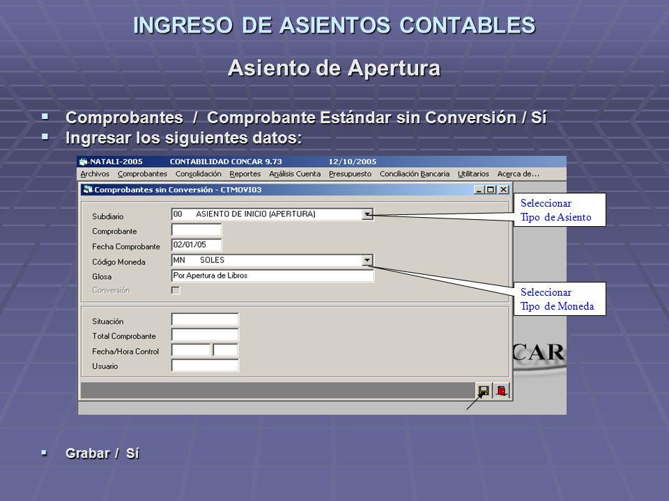 Bienvenidos al programa concar ppt descargar for Asiento apertura
