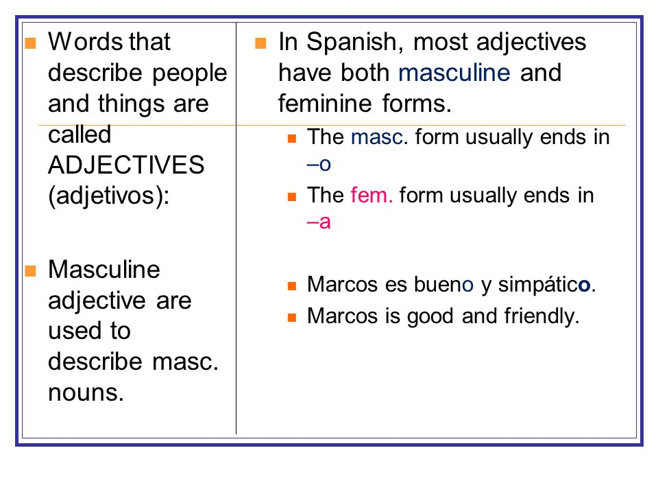 Masculine adjective are used to describe masc. nouns.