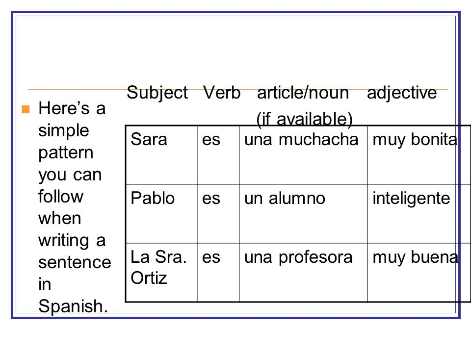 Subject Verb article/noun adjective (if available)