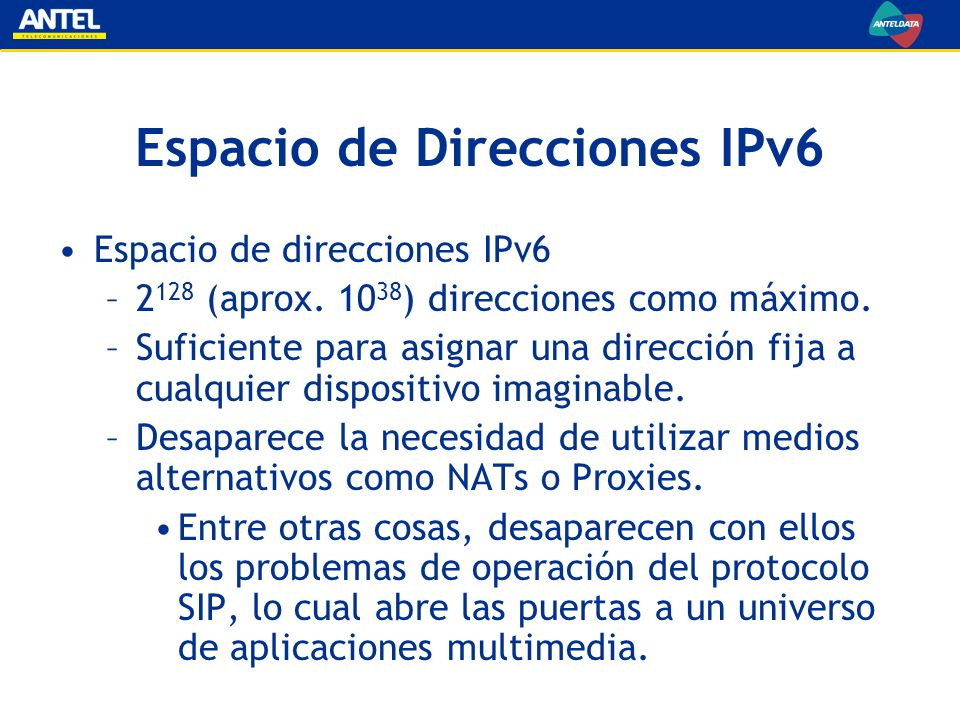 Espacio de Direcciones IPv6