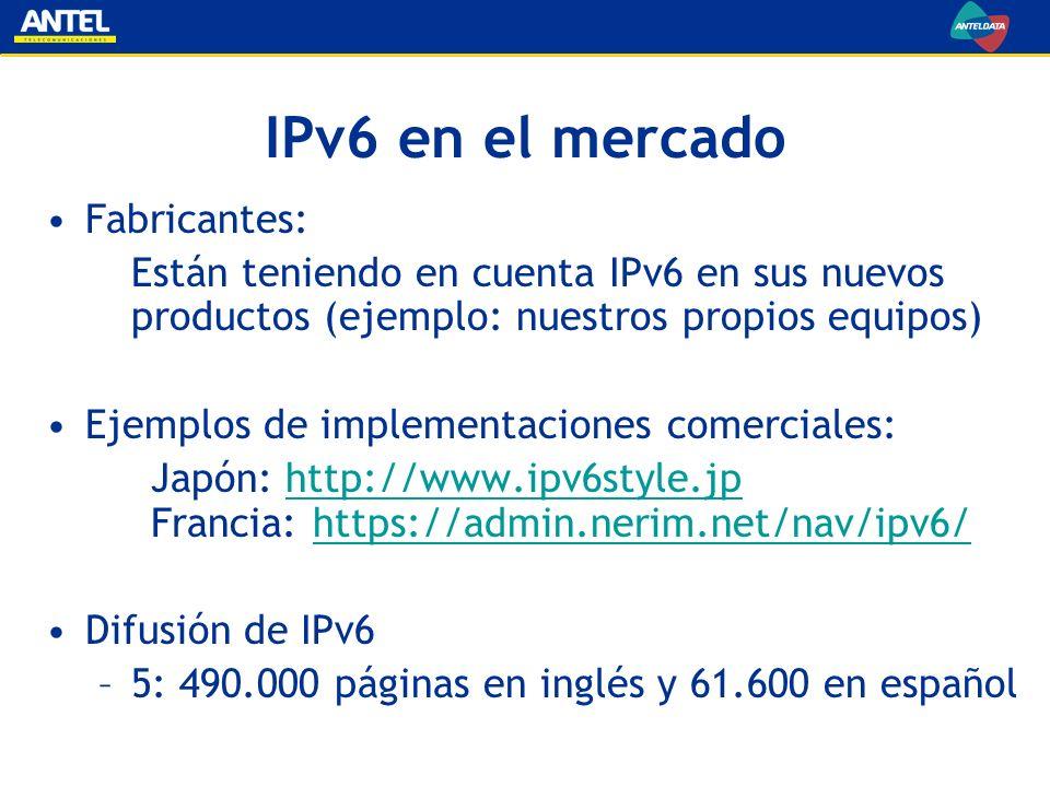 IPv6 en el mercado Fabricantes: