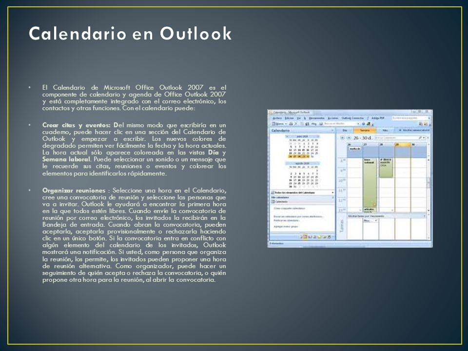 Calendario en Outlook