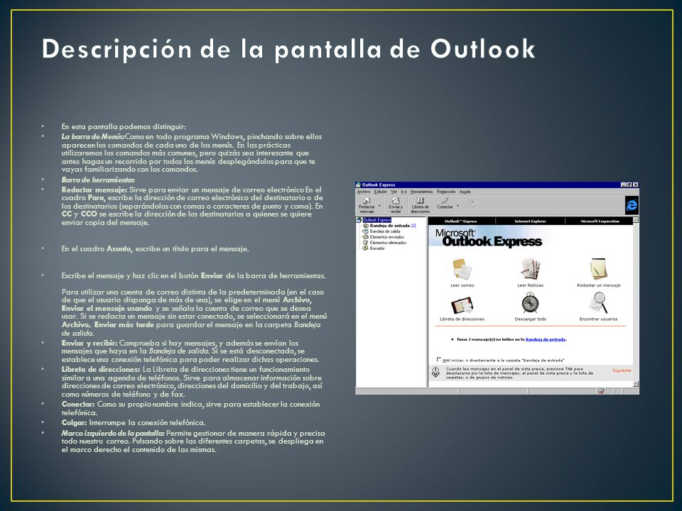 Descripción de la pantalla de Outlook