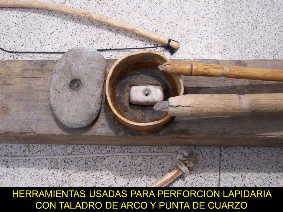 HERRAMIENTAS USADAS PARA PERFORCION LAPIDARIA CON TALADRO DE ARCO Y PUNTA DE CUARZO