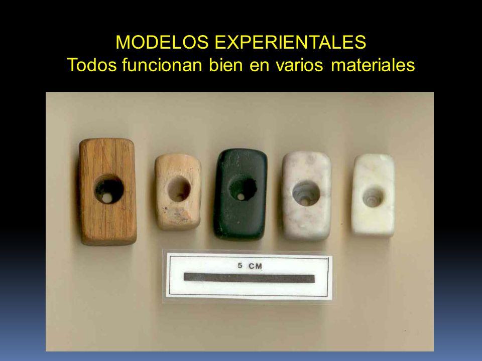 MODELOS EXPERIENTALES Todos funcionan bien en varios materiales