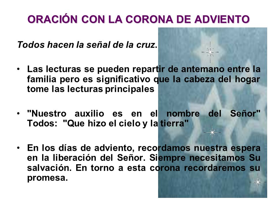 ORACIÓN CON LA CORONA DE ADVIENTO
