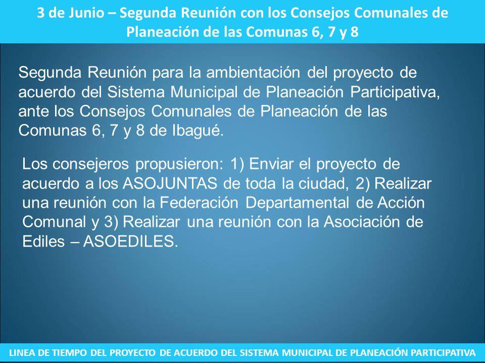 3 de Junio – Segunda Reunión con los Consejos Comunales de Planeación de las Comunas 6, 7 y 8