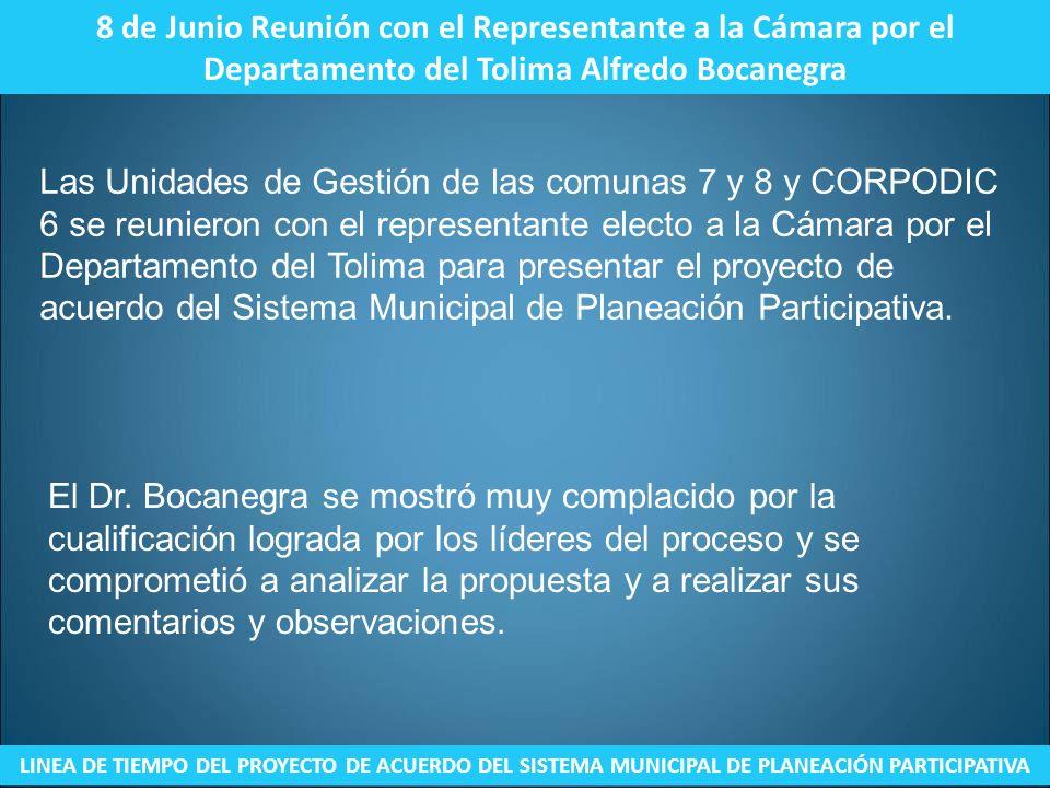 8 de Junio Reunión con el Representante a la Cámara por el Departamento del Tolima Alfredo Bocanegra