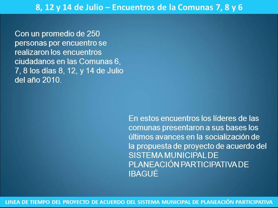 8, 12 y 14 de Julio – Encuentros de la Comunas 7, 8 y 6
