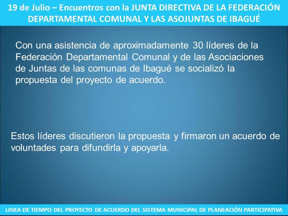 19 de Julio – Encuentros con la JUNTA DIRECTIVA DE LA FEDERACIÓN DEPARTAMENTAL COMUNAL Y LAS ASOJUNTAS DE IBAGUÉ