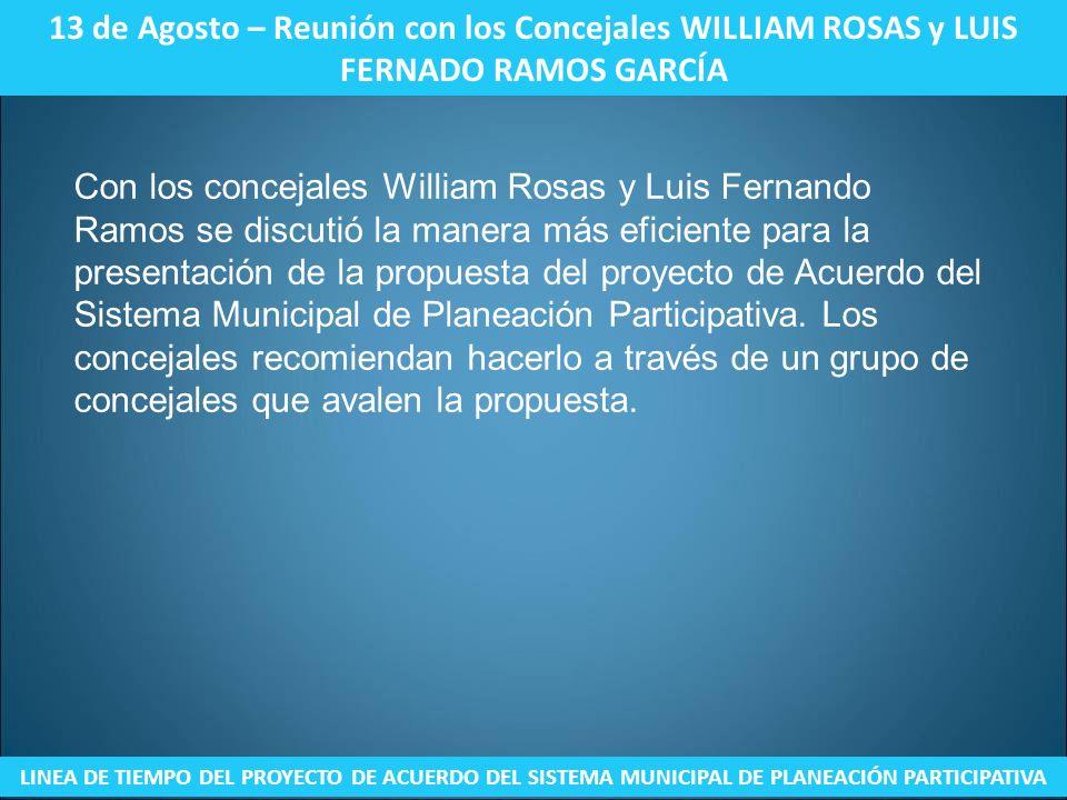 13 de Agosto – Reunión con los Concejales WILLIAM ROSAS y LUIS FERNADO RAMOS GARCÍA