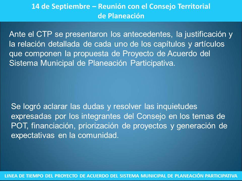 14 de Septiembre – Reunión con el Consejo Territorial