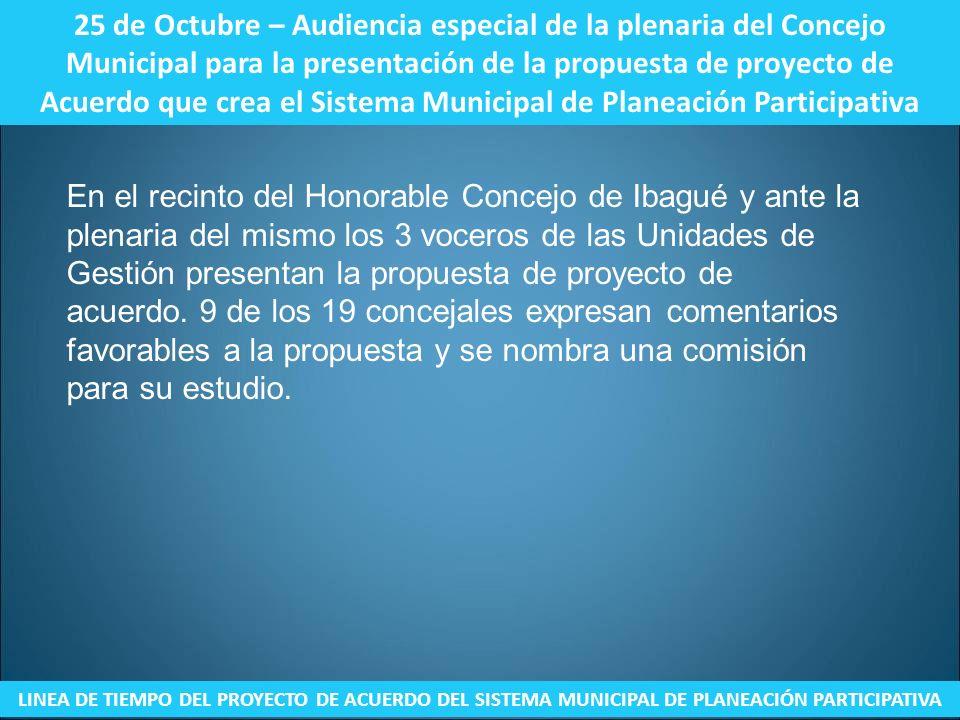 25 de Octubre – Audiencia especial de la plenaria del Concejo Municipal para la presentación de la propuesta de proyecto de Acuerdo que crea el Sistema Municipal de Planeación Participativa