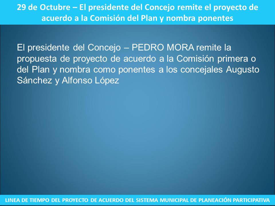 29 de Octubre – El presidente del Concejo remite el proyecto de acuerdo a la Comisión del Plan y nombra ponentes