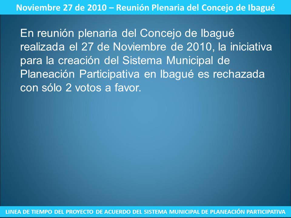 Noviembre 27 de 2010 – Reunión Plenaria del Concejo de Ibagué