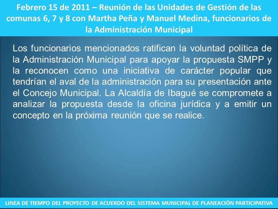 Febrero 15 de 2011 – Reunión de las Unidades de Gestión de las comunas 6, 7 y 8 con Martha Peña y Manuel Medina, funcionarios de la Administración Municipal