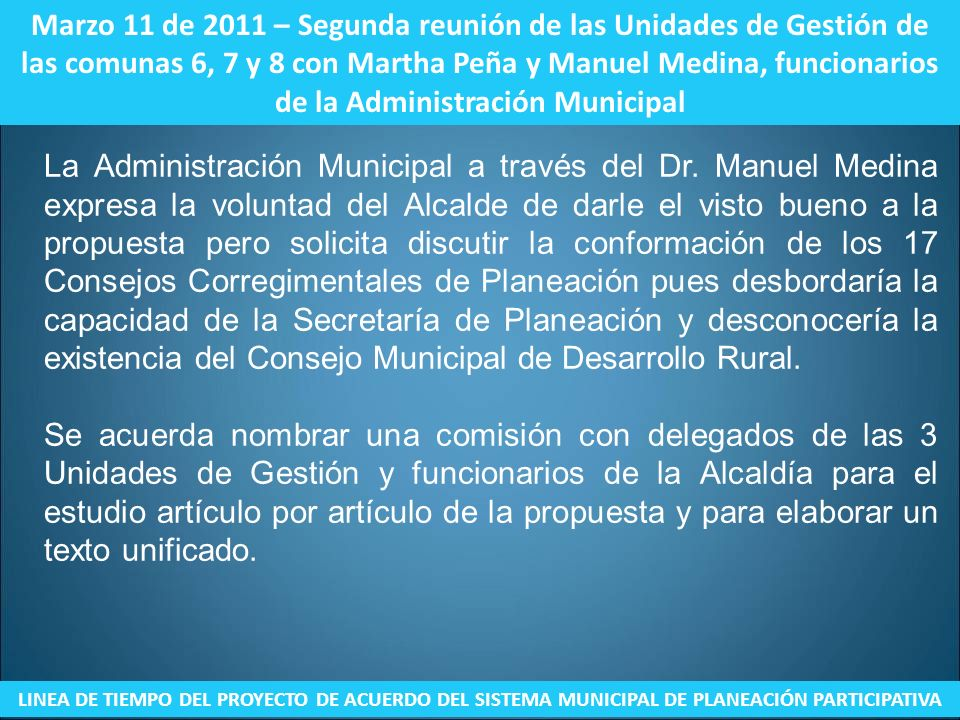Marzo 11 de 2011 – Segunda reunión de las Unidades de Gestión de las comunas 6, 7 y 8 con Martha Peña y Manuel Medina, funcionarios de la Administración Municipal