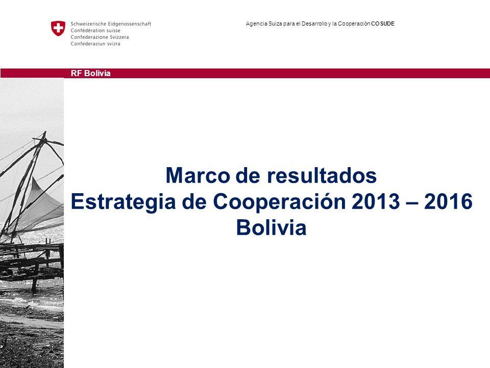 Marco de resultados Estrategia de Cooperación 2013 – 2016 Bolivia