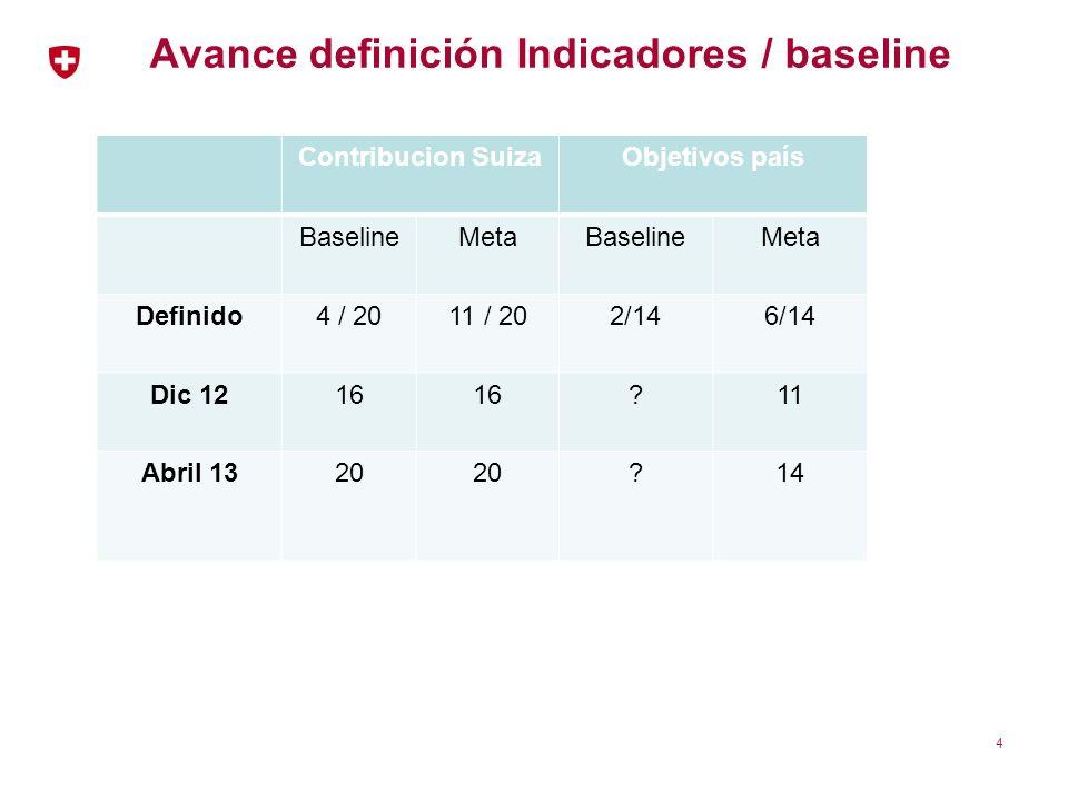 Avance definición Indicadores / baseline