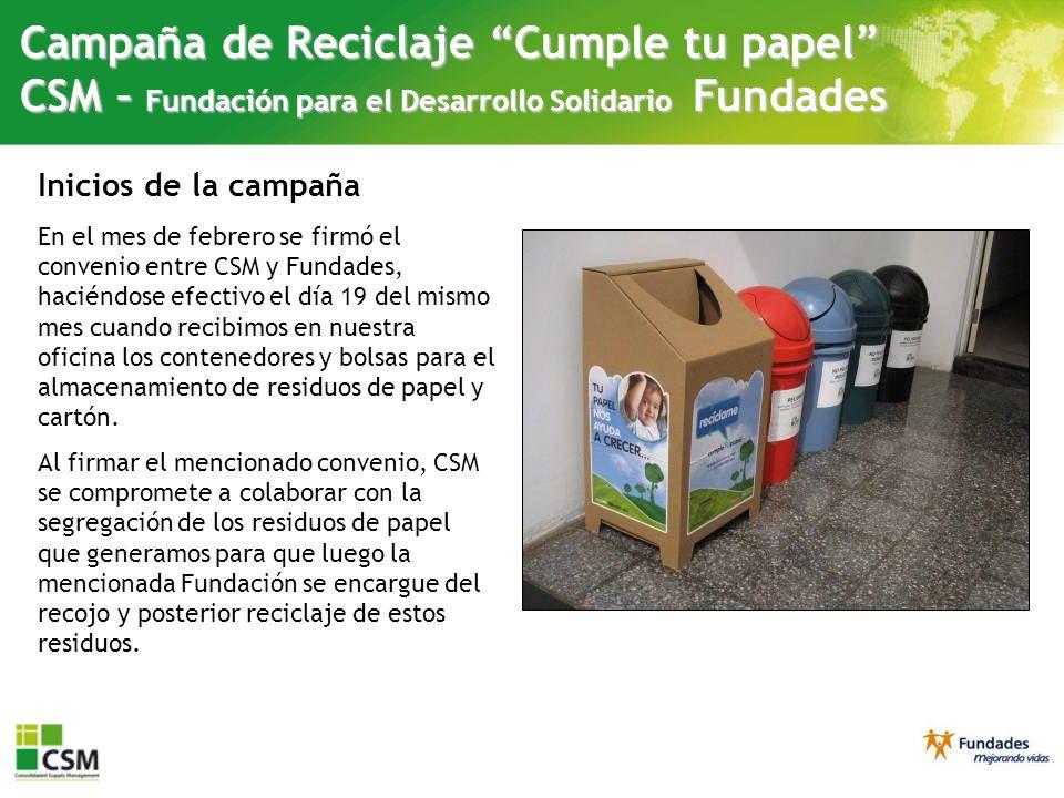 Campaña de Reciclaje Cumple tu papel CSM – Fundación para el Desarrollo Solidario Fundades