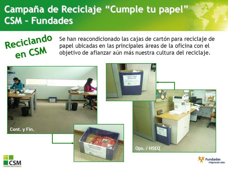 Campaña de Reciclaje Cumple tu papel CSM – Fundades