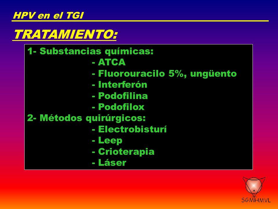 TRATAMIENTO: HPV en el TGI 1- Substancias químicas: - ATCA