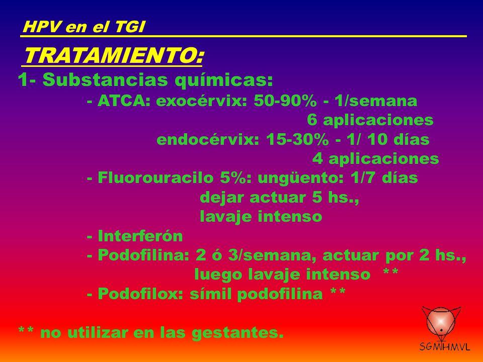 TRATAMIENTO: 1- Substancias químicas: HPV en el TGI