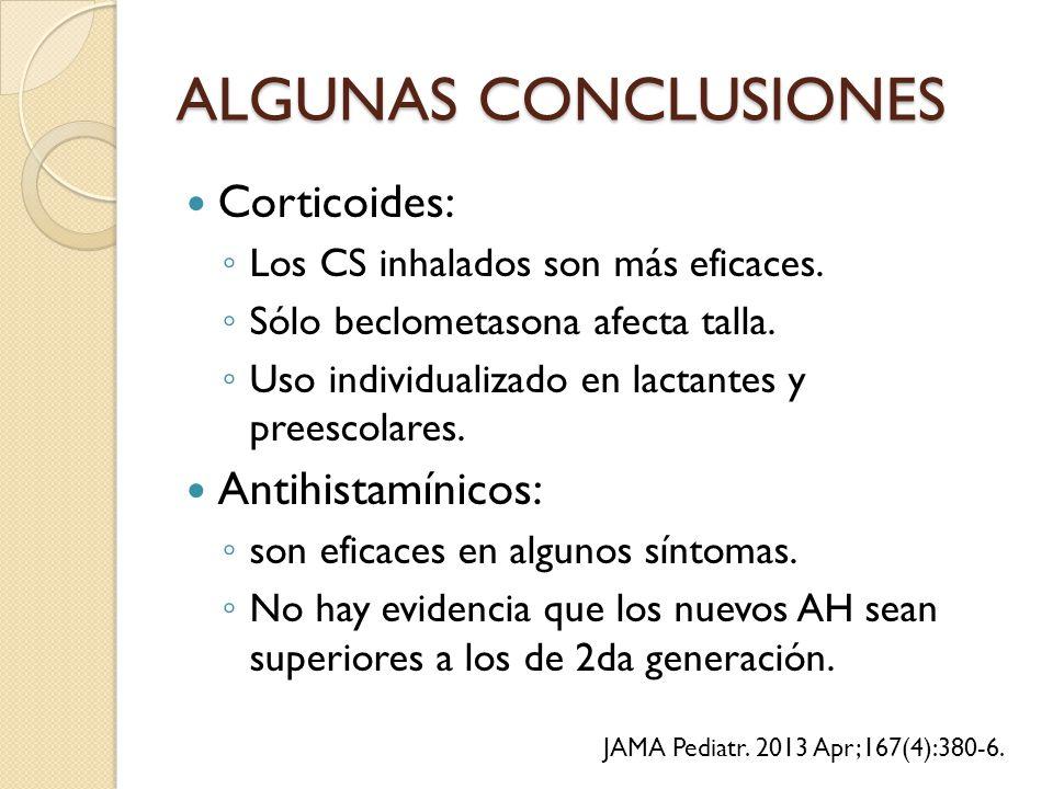 ALGUNAS CONCLUSIONES Corticoides: Antihistamínicos: