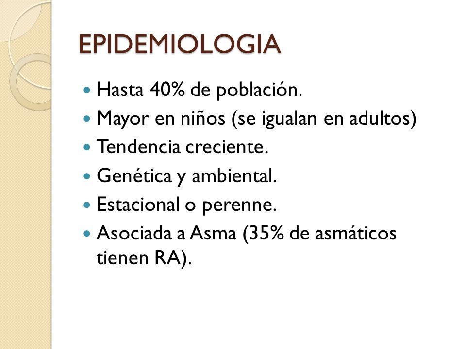 EPIDEMIOLOGIA Hasta 40% de población.