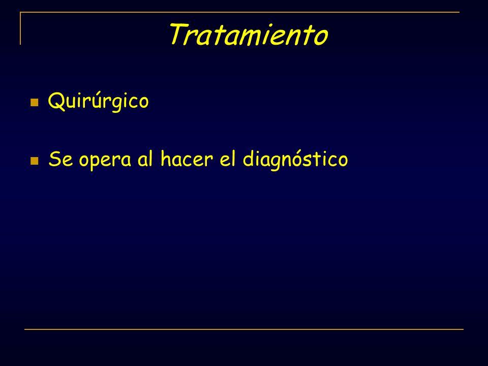 Tratamiento Quirúrgico Se opera al hacer el diagnóstico