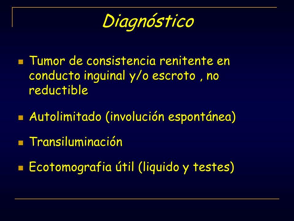Diagnóstico Tumor de consistencia renitente en conducto inguinal y/o escroto , no reductible. Autolimitado (involución espontánea)