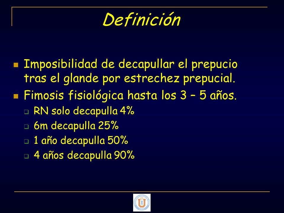 Definición Imposibilidad de decapullar el prepucio tras el glande por estrechez prepucial. Fimosis fisiológica hasta los 3 – 5 años.