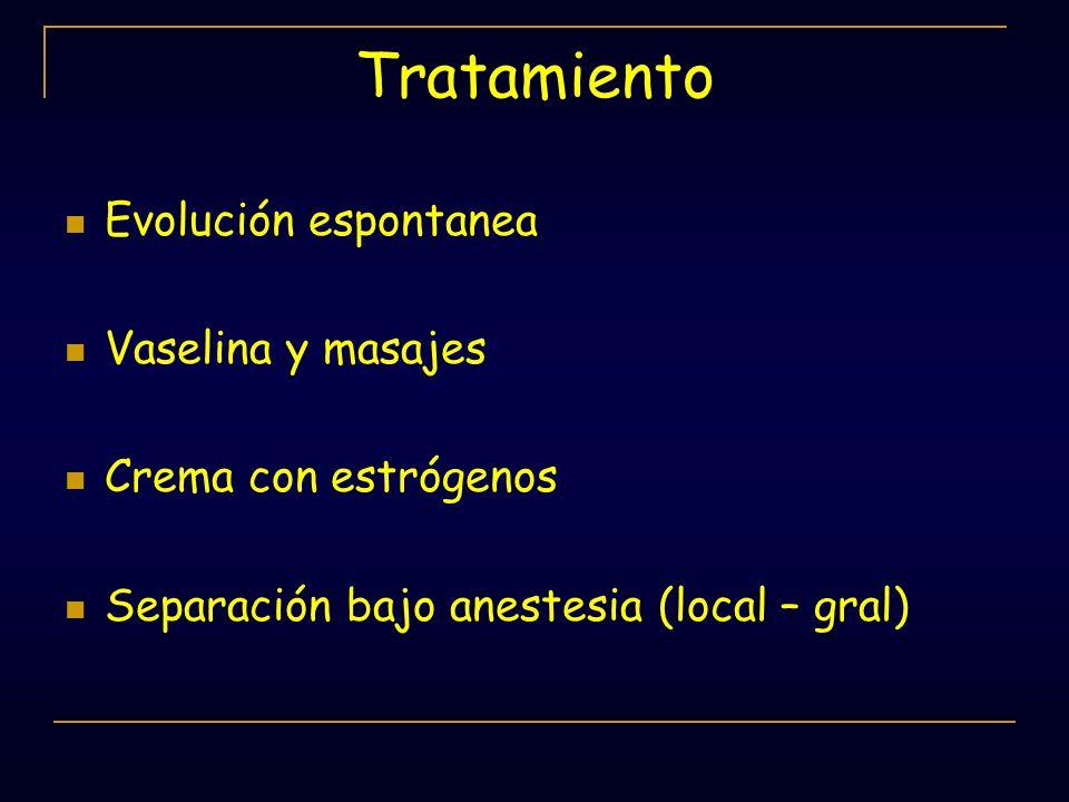 Tratamiento Evolución espontanea Vaselina y masajes