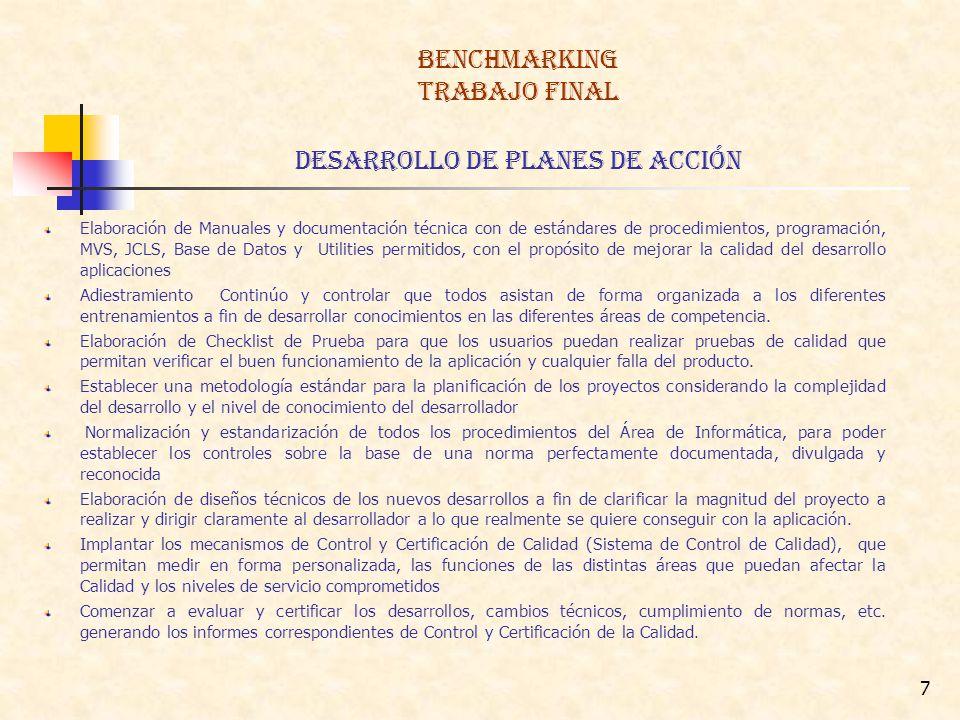 BENCHMARKING TRABAJO FINAL DESARROLLO DE Planes de Acción