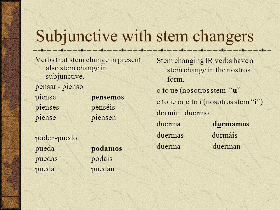 Subjunctive with stem changers